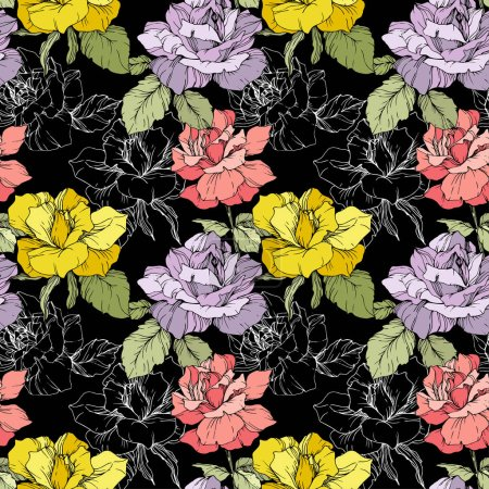 Pink, yellow and purple roses. Engraved ink art. Seamless background pattern. Fabric wallpaper print texture on black background.