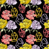 Pink yellow and purple roses Engraved ink art Seamless background pattern Fabric wallpaper print texture on black background