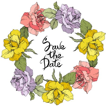 Illustration for Vector. Rose flowers floral wreath. Yellow, pink and purple roses engraved ink art. Save the Date handwriting monogram calligraphy. - Royalty Free Image