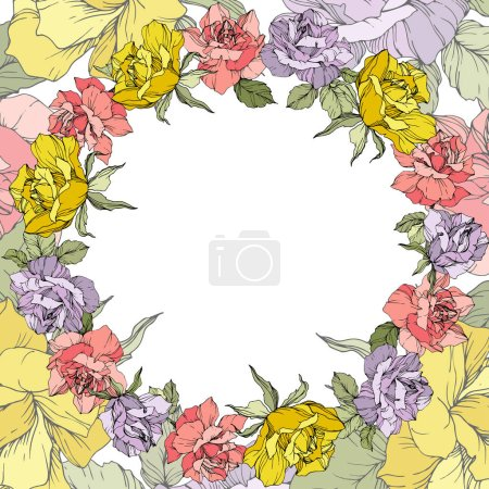 Illustration for Vector. Rose flowers floral wreath on white background. Yellow, purple and pink roses engraved ink art. - Royalty Free Image