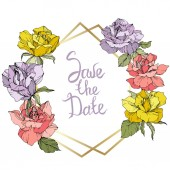 Vector Rose flowers and golden crystal frame Yellow purple and pink roses engraved ink art Geometric crystal polygon shape on white background Save the Date handwriting monogram calligraphy