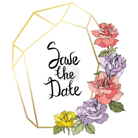 Illustration for Vector. Rose flowers and golden crystal frame. Yellow, purple and pink roses engraved ink art. Geometric crystal polyhedron shape on white background. Save the Date handwriting monogram calligraphy. - Royalty Free Image