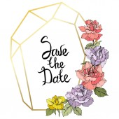 Vector Rose flowers and golden crystal frame Yellow purple and pink roses engraved ink art Geometric crystal polyhedron shape on white background Save the Date handwriting monogram calligraphy
