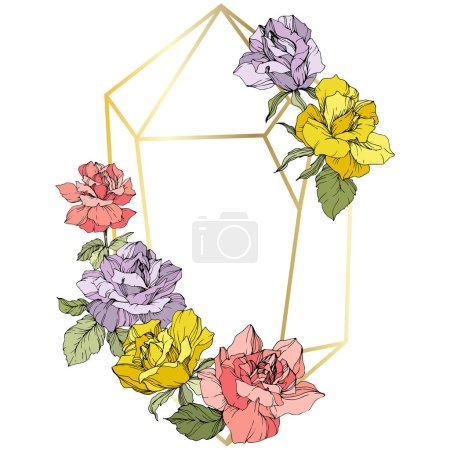 Illustration for Vector. Rose flowers and golden crystal frame. Pink, yellow and purple roses engraved ink art. Geometric crystal polyhedron shape on white background. - Royalty Free Image
