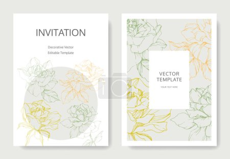 Illustration for Vector rose flowers. Wedding cards with floral borders. Thank you, rsvp, invitation elegant cards illustration graphic set. - Royalty Free Image