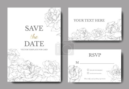 Illustration for Vector. Silver rose flowers on white cards. Wedding cards with floral decorative borders. Thank you, rsvp, invitation elegant cards illustration graphic set. Engraved ink art. - Royalty Free Image
