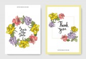 Beautiful rose flowers on cards Wedding cards with floral decorative borders Thank you rsvp invitation elegant cards illustration graphic set Engraved ink art
