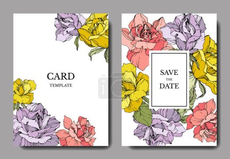 Illustration for Beautiful rose flowers on cards. Wedding cards with floral decorative borders. Thank you, rsvp, invitation elegant cards illustration graphic set. Engraved ink art. - Royalty Free Image