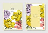 Beautiful rose flowers on cards. Wedding cards with floral decorative borders. Thank you, rsvp, invitation elegant cards illustration graphic set. Engraved ink art.