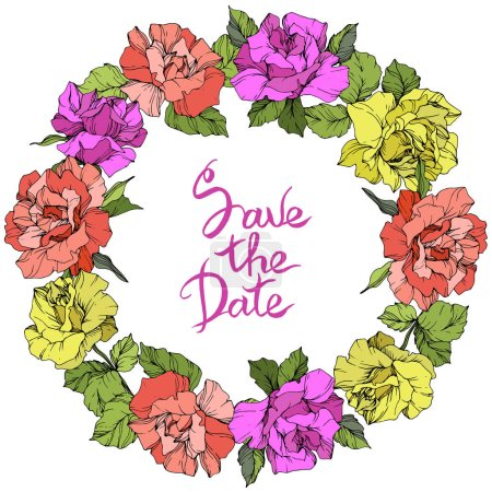 Vector. Roses floral wreath. Purple, yellow and coral rose flowers engraved ink art. Save the Date handwriting monogram calligraphy.