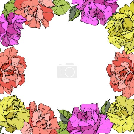 Illustration for Vector. Roses floral wreath. Purple, yellow and coral rose flowers. Engraved ink art on white background. - Royalty Free Image