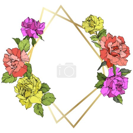 Illustration for Vector. Rose flowers and golden crystal frame. Coral, yellow and purple roses engraved ink art. Geometric crystal polyhedron shape on white background. - Royalty Free Image