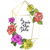 Vector Rose flowers and golden crystal frame Coral yellow and purple engraved ink art Geometric crystal polyhedron shape on white background Save the Date handwriting monogram calligraphy