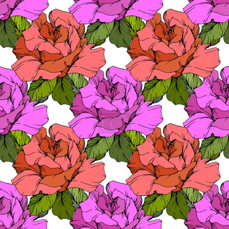 Illustration for Coral and purple roses. Engraved ink art. Seamless background pattern. Fabric wallpaper print texture on black background. - Royalty Free Image