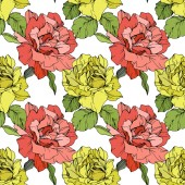 Coral and yellow roses Engraved ink art Seamless background pattern Fabric wallpaper print texture on white background