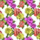Beautiful coral yellow and purple roses Engraved ink art Seamless background pattern Fabric wallpaper print texture on white background