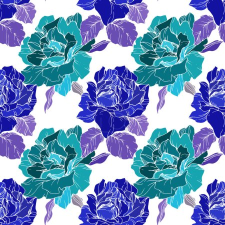 Illustration for Green and blue roses. Engraved ink art. Seamless background pattern. Fabric wallpaper print texture on white background. - Royalty Free Image