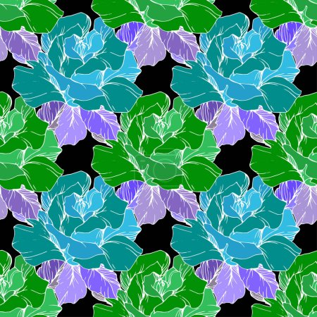 Illustration for Green and blue roses. Engraved ink art. Seamless background pattern. Fabric wallpaper print texture on black background. - Royalty Free Image