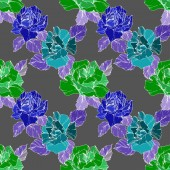 Vector Green and blue rose flowers Engraved ink art Seamless background pattern Fabric wallpaper print texture on grey background