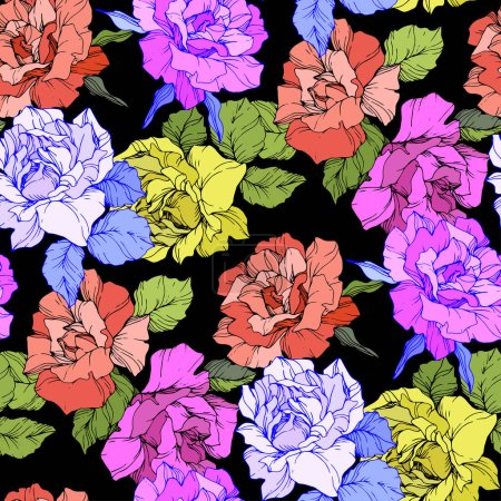 Illustration for Coral, yellow and purple roses. Engraved ink art. Seamless background pattern. Fabric wallpaper print texture on black background. - Royalty Free Image
