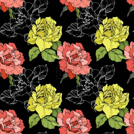 Illustration for Coral and yellow roses. Engraved ink art. Seamless background pattern. Fabric wallpaper print texture on black background. - Royalty Free Image