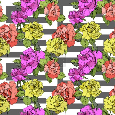 Illustration for Beautiful coral, yellow and purple roses. Engraved ink art. Seamless background pattern. Fabric wallpaper print texture on white background. - Royalty Free Image