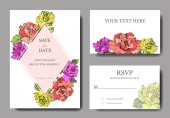 Vector Coral yellow and purple rose flowers on cards Wedding cards with floral decorative borders Thank you rsvp invitation elegant cards illustration graphic set Engraved ink art