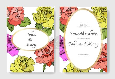 Illustration for Vector. Coral, yellow and purple rose flowers on cards. Wedding cards with floral decorative borders. Thank you, rsvp, invitation elegant cards illustration graphic set. Engraved ink art. - Royalty Free Image