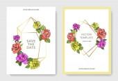 """Постер, картина, фотообои """"Вектор. Коралловые, желтый и фиолетовый розовые цветы на карты. Свадебные открытки с цветочные декоративные рамки. Спасибо вам, rsvp, приглашение элегантной карты иллюстрации графический набор. Художественная гравировка чернил."""""""