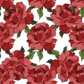 Red roses Engraved ink art Seamless background pattern Fabric wallpaper print texture on white background