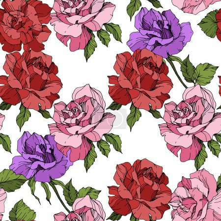 Illustration for Pink, red and purple roses. Engraved ink art. Seamless background pattern. Fabric wallpaper print texture on white background. - Royalty Free Image