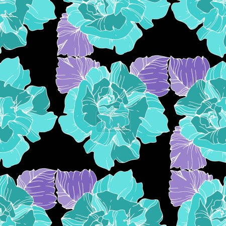 Illustration for Blue roses. Engraved ink art. Seamless background pattern. Fabric wallpaper print texture on black background. - Royalty Free Image