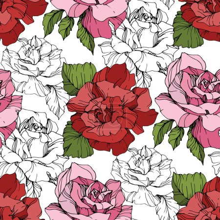 Illustration for Pink and red roses. Engraved ink art. Seamless background pattern. Fabric wallpaper print texture on white background. - Royalty Free Image