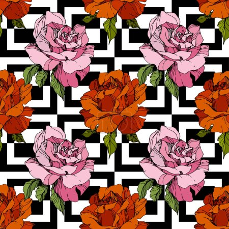 Pink and red roses. Engraved ink art. Seamless background pattern. Fabric wallpaper print texture on white background.