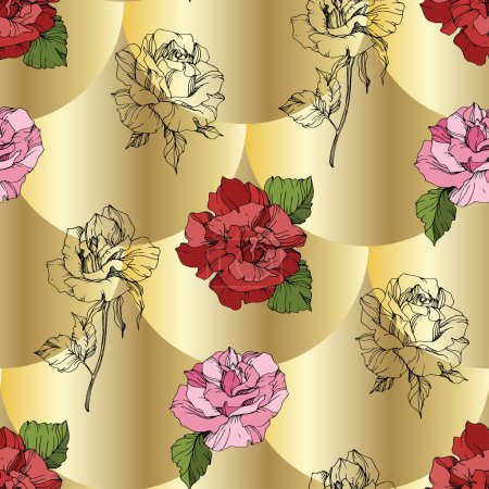 Illustration for Vector. Pink and red rose flowers. Engraved ink art. Seamless background pattern. Fabric wallpaper print texture on golden background. - Royalty Free Image