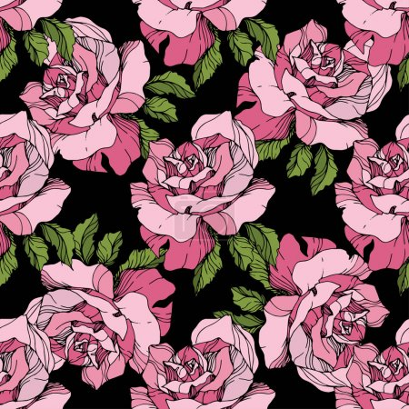 Pink roses. Engraved ink art. Seamless background pattern. Fabric wallpaper print texture on black background.