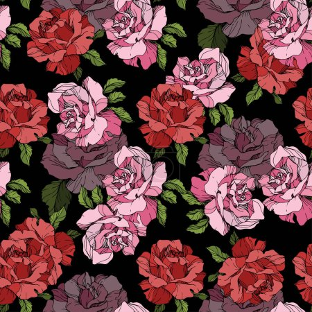 Illustration for Pink and red rose flowers. Engraved ink art. Seamless background pattern. Fabric wallpaper print texture on black background. - Royalty Free Image