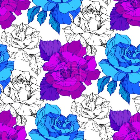 Illustration for Blue and purple roses. Engraved ink art. Seamless background pattern. Fabric wallpaper print texture on white background. - Royalty Free Image