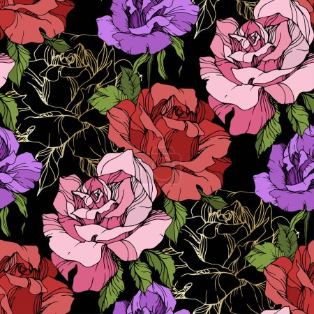 Illustration for Pink, red and purple rose flowers. Engraved ink art. Seamless background pattern. Fabric wallpaper print texture on black background. - Royalty Free Image
