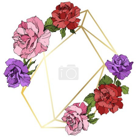 Illustration for Vector. Rose flowers and golden crystal frame. Pink, red and purple engraved ink art. Geometric crystal polyhedron shape on white background. - Royalty Free Image