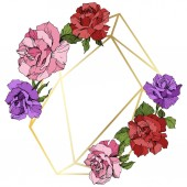 Vector Rose flowers and golden crystal frame Pink red and purple engraved ink art Geometric crystal polyhedron shape on white background