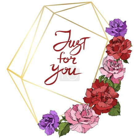 Vector. Rose flowers and golden crystal frame. Pink, red and purple engraved ink art. Geometric crystal polyhedron shape on white background. Just for you inscription