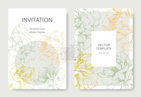 Ilustración de Vector rosa flores. Invitaciones de boda con bordes florales. Gracias, rsvp, invitación tarjetas elegante ilustración gráfica sistema. - Imagen libre de derechos