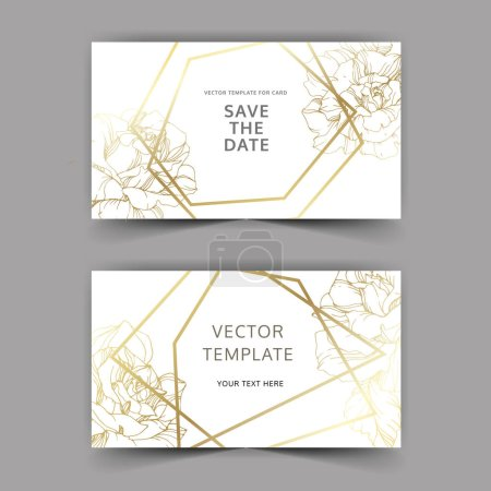 Illustration for Vector. Golden rose flowers on cards. Wedding cards with golden borders. Thank you, rsvp, invitation elegant cards illustration graphic set. Engraved ink art. - Royalty Free Image