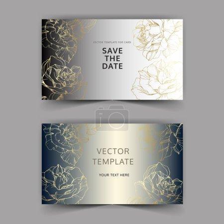 Illustration pour Vecteur. Fleurs roses dorées sur cartes argentées. Cartes de mariage avec bordures décoratives florales. Merci, rsvp, invitez élégant jeu graphique cartes illustration. Encre gravée art . - image libre de droit
