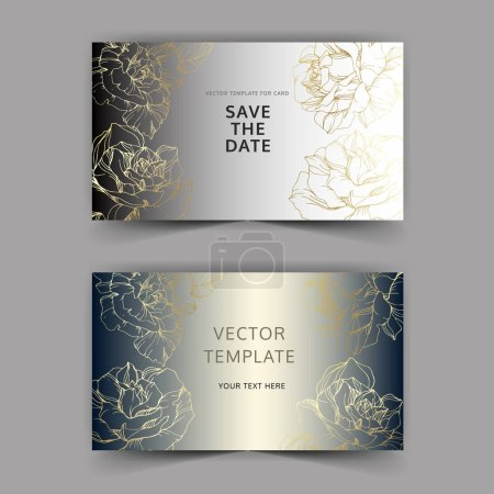 Vector. Golden rose flowers on silver cards. Wedding cards with floral decorative borders. Thank you, rsvp, invitation elegant cards illustration graphic set. Engraved ink art.