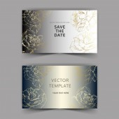 Vector Golden rose flowers on silver cards Wedding cards with floral decorative borders Thank you rsvp invitation elegant cards illustration graphic set Engraved ink art