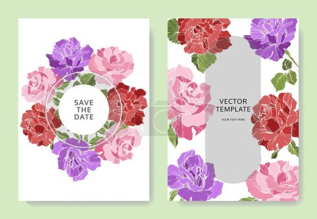Photo for Beautiful rose flowers on cards. Wedding cards with floral decorative borders. Thank you, rsvp, invitation elegant cards illustration graphic set. Engraved ink art. - Royalty Free Image