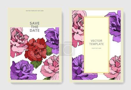 schöne Rosenblüten auf Karten. Hochzeitskarten mit floralen Zierrändern. danke, rsvp, einladung elegante karten illustration grafik set. Tuschebilder.