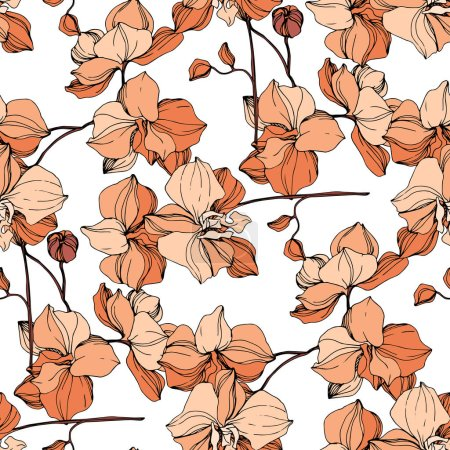 Illustration for Vector orange orchids. Wildflowers isolated on white. Engraved ink art. Seamless background pattern. Wallpaper print texture. - Royalty Free Image